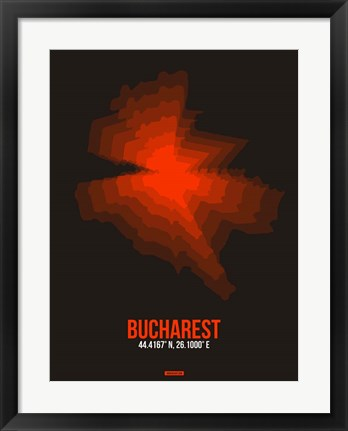 Framed Bucharest Radiant Map 1 Print