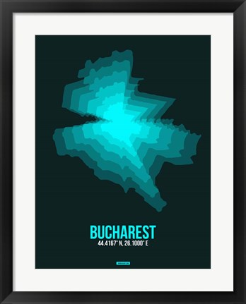 Framed Bucharest Radiant Map 3 Print