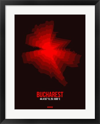 Framed Bucharest Radiant Map 4 Print