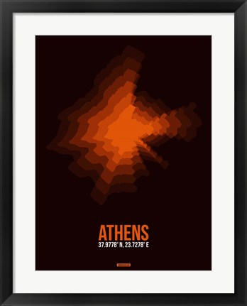 Framed Athens Radiant Map 3 Print