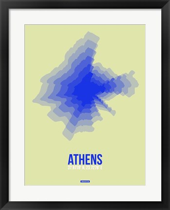 Framed Athens Radiant Map 4 Print