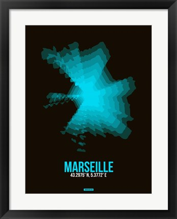 Framed Marseille Radiant Map 2 Print