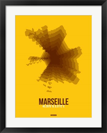 Framed Marseille Radiant Map 3 Print