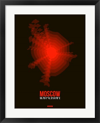 Framed Moscow Radiant Map 1 Print