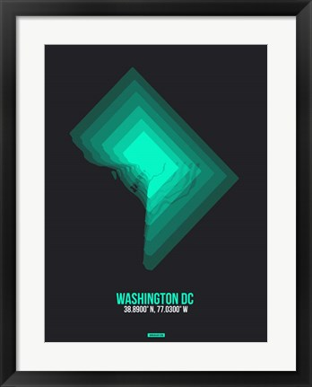 Framed Washington DC Radiant Map 3 Print