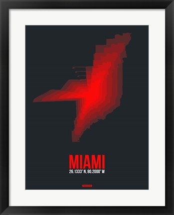 Framed Miami Radiant Map 3 Print