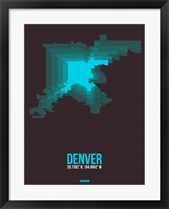 Framed Denver Radiant Map 4 Print