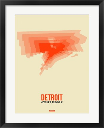 Framed Detroit Radiant Map 2 Print