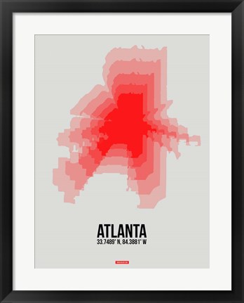 Framed Atlanta Radiant Map 1 Print
