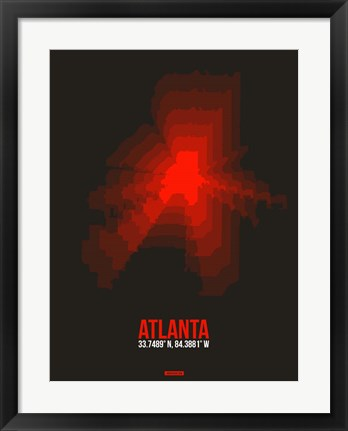 Framed Atlanta Radiant Map 3 Print