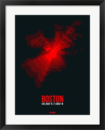 Framed Boston Radiant Map 1 Print