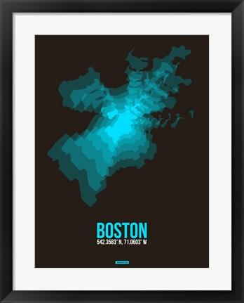 Framed Boston Radiant Map 2 Print
