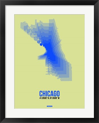 Framed Chicago Radiant Map 1 Print