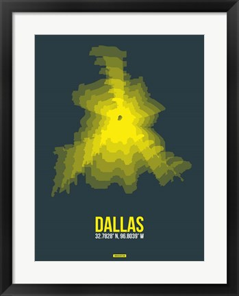 Framed Dallas Radiant Map 1 Print