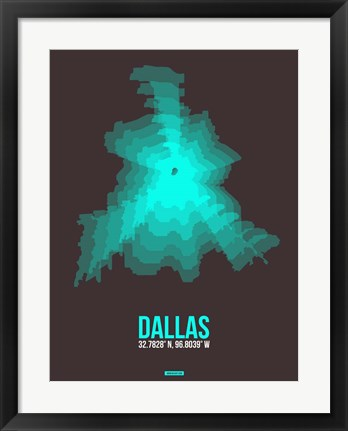 Framed Dallas Radiant Map 2 Print