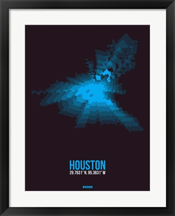 Framed Houston Radiant Map 1 Print