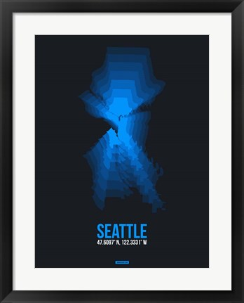 Framed Seattle Radiant Map 2 Print