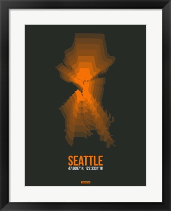 Framed Seattle Radiant Map 3 Print