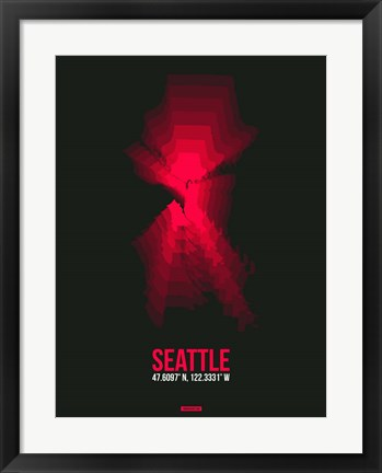 Framed Seattle Radiant Map 4 Print