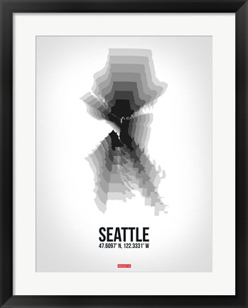 Framed Seattle Radiant Map 6 Print