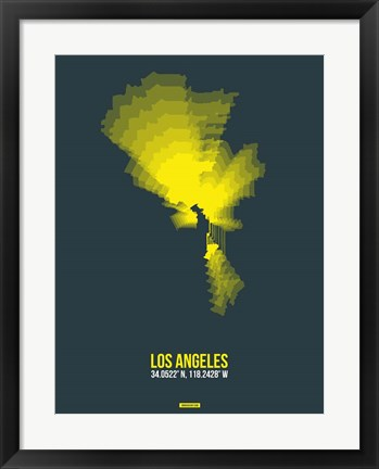 Framed Los Angeles Radiant Map 1 Print