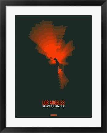 Framed Los Angeles Radiant Map 4 Print