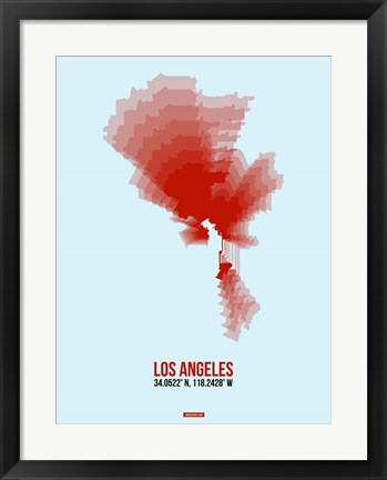 Framed Los Angeles Radiant Map 7 Print