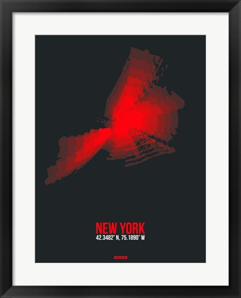 Framed New York Radiant Map 3 Print