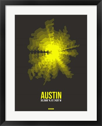 Framed Austin Radiant Map 3 Print