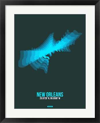 Framed New Orleans Radiant Map 2 Print