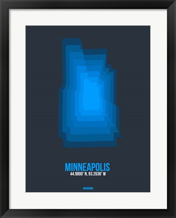 Framed Minneapolis Radiant Map 2 Print