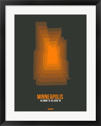 Framed Minneapolis Radiant Map 3 Print