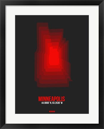 Framed Minneapolis Radiant Map 5 Print