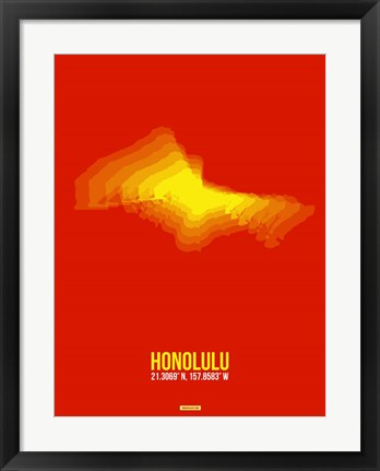 Framed Honolulu Radiant Map 4 Print