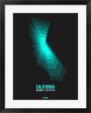 Framed California Radiant Map 3 Print