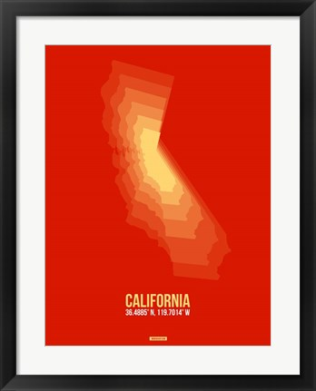 Framed California Radiant Map 6 Print