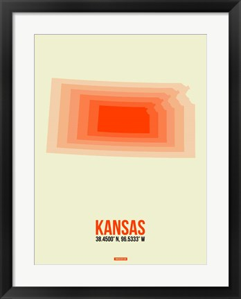Framed Kansas Radiant Map 1 Print