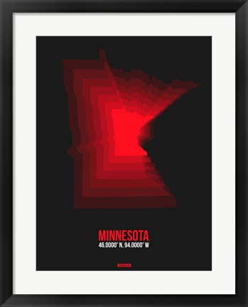 Framed Minnesota Radiant Map 6 Print