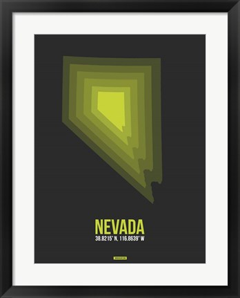 Framed Nevada Radiant Map 4 Print