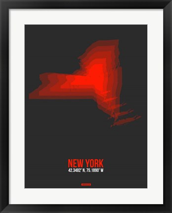 Framed New York Radiant Map 4 Print