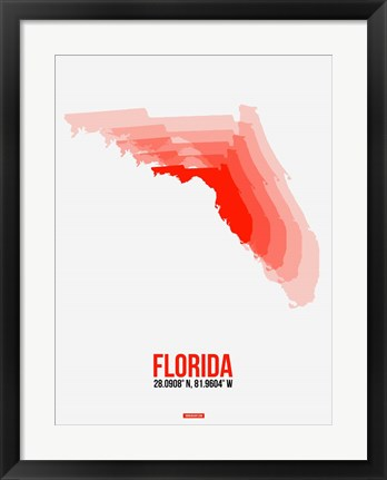 Framed Florida Radiant Map 1 Print