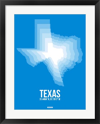 Framed Texas Radiant Map 4 Print