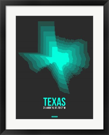Framed Texas Radiant Map 6 Print