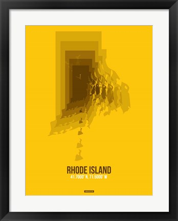 Framed Rhode Island Radiant Map 3 Print