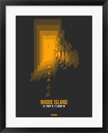 Framed Rhode Island Radiant Map 4 Print