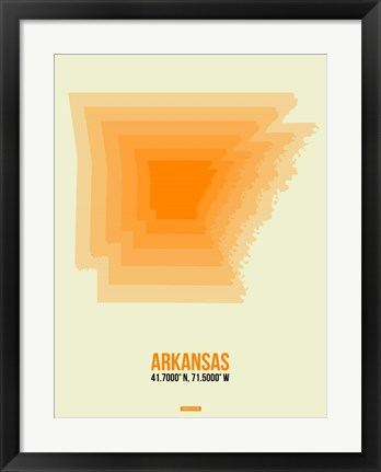 Framed Arkansas Radiant Map 1 Print