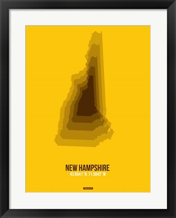 Framed New Hampshire Radiant Map 2 Print