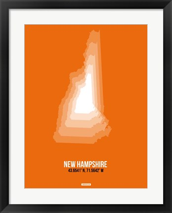 Framed New Hampshire Radiant Map 3 Print