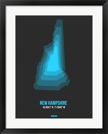 Framed New Hampshire Radiant Map 4 Print