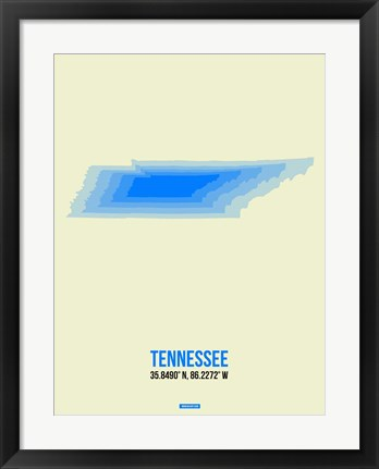 Framed Tennessee Radiant Map 1 Print